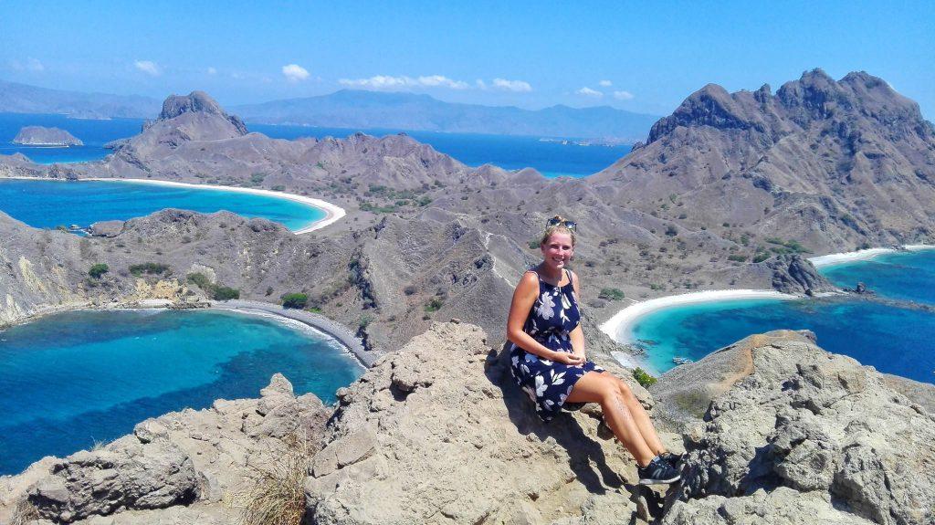 Alizee hiking in Indonesia