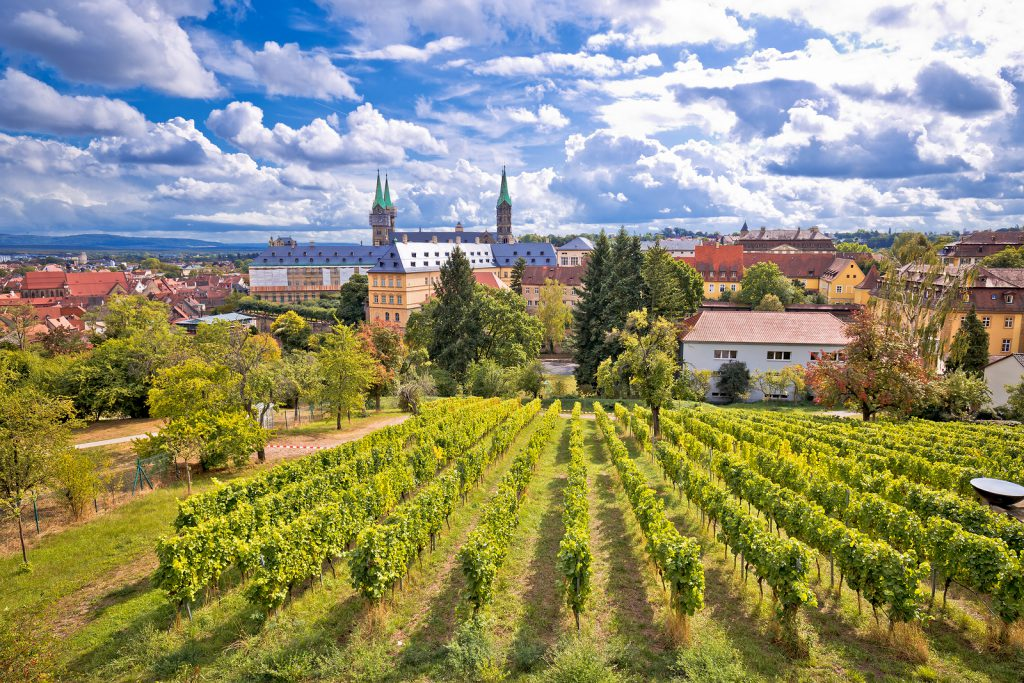 Bamberg. Town of Bamberg view from Michaelsberg vineyards to Bamberger dom square, Upper Franconia, Bavaria region of Germany