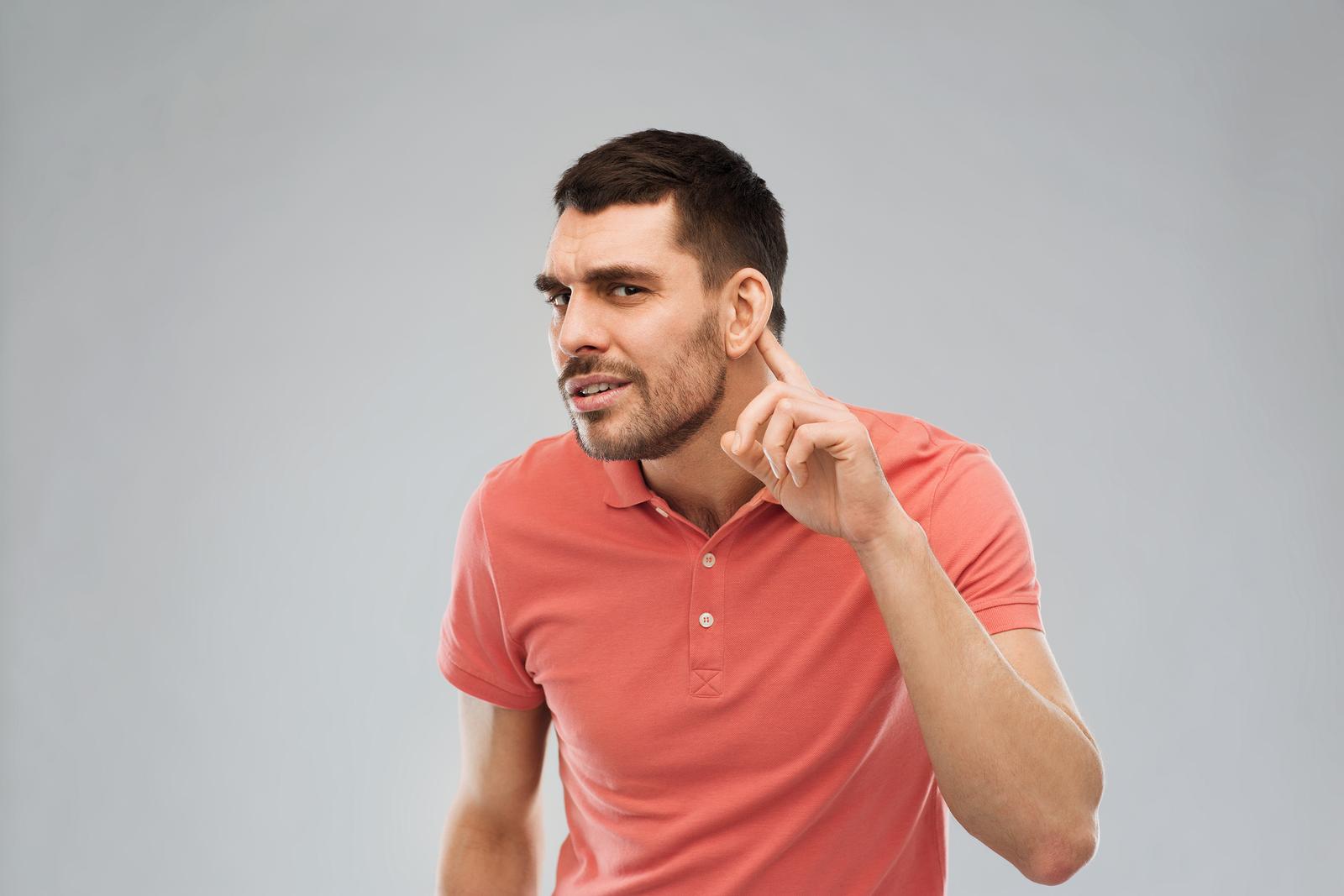 man listening to pronunciation