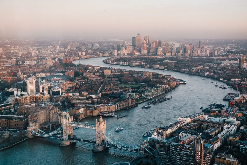 View of London over the Thames river