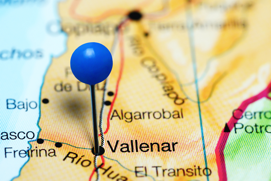 Vallenar pinned on a map of Chile