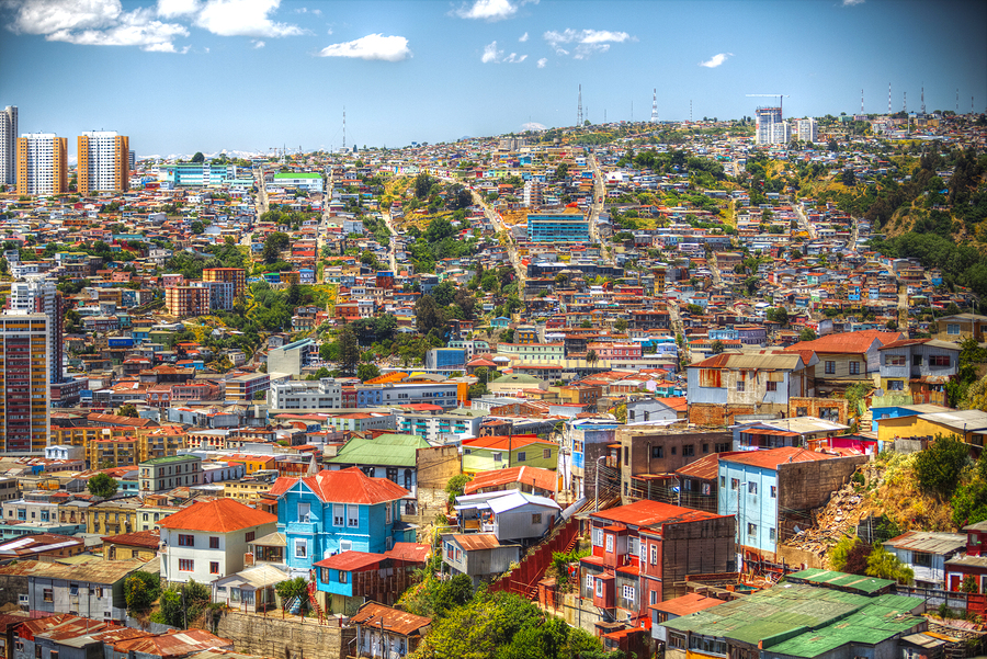 Colorful buildings on the hills of the UNESCO World Heritage city of Valparaiso Chile