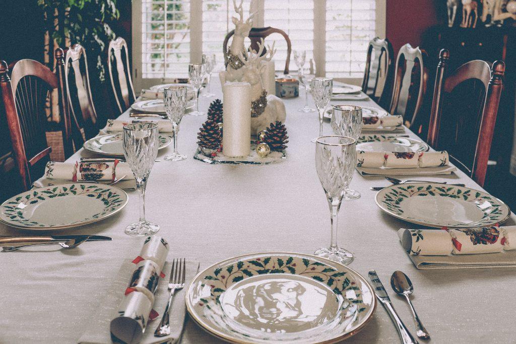 christmas dinner table waiting for food