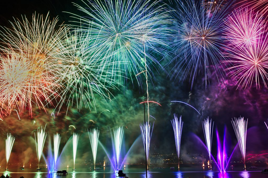 fireworks display are a new years tradition lighting up the sky at midnight