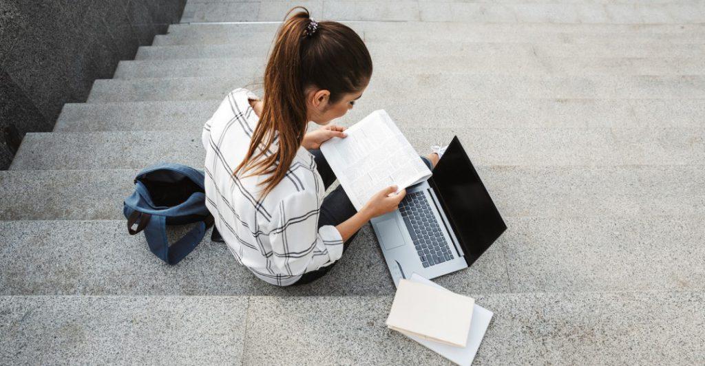 woman revising her language studies