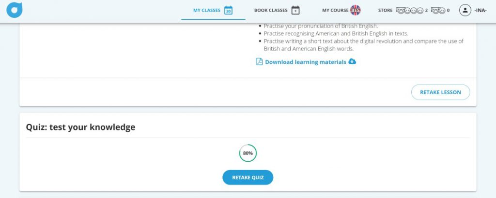 screen grab of Lingoda quizzes located on the lesson page