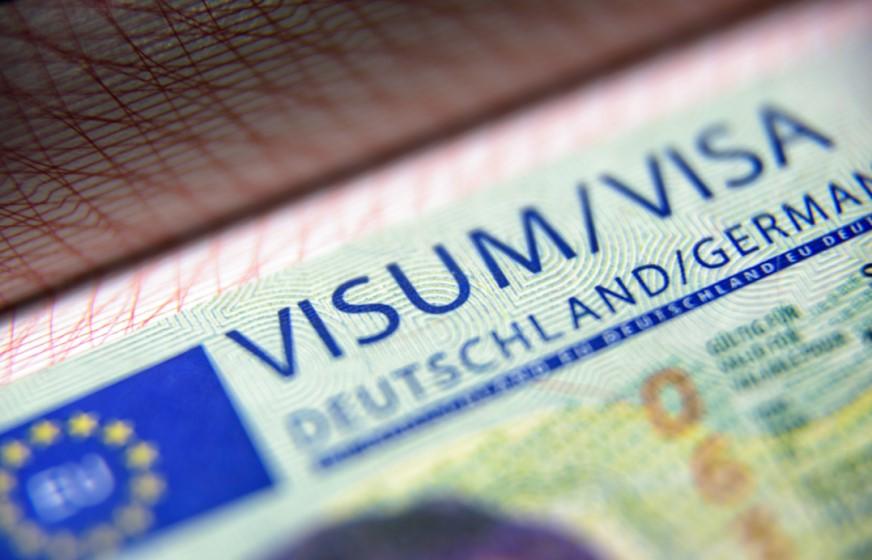 german visa headline in passport showing german language level