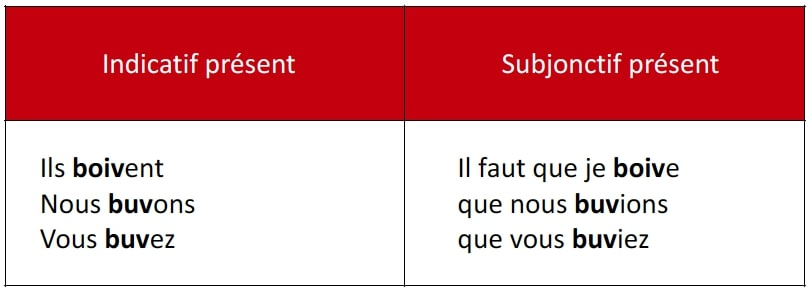 """When """"nous"""" and """"vous"""" have a different root from """"ils"""" in the present tense, they keep this difference in the subjunctive tense:"""