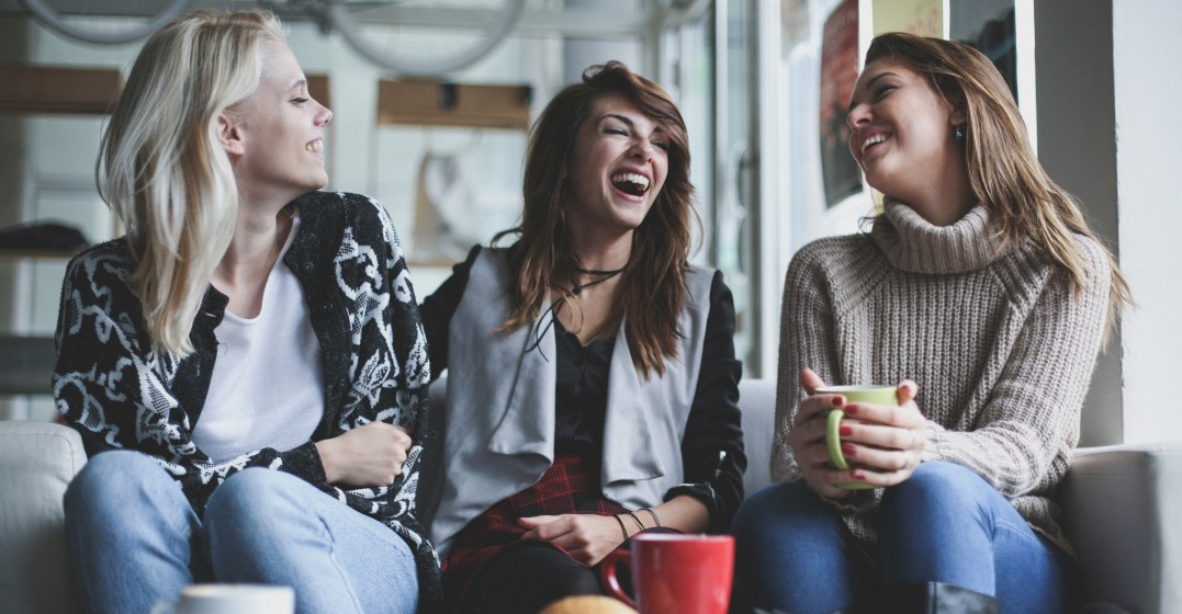 friends laughing at old-fashioned English sayings