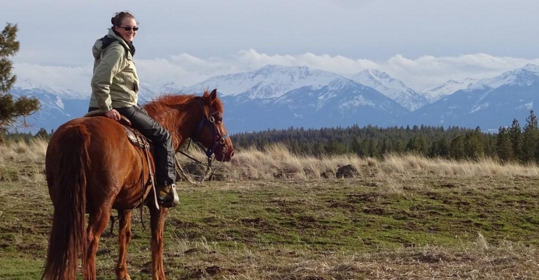 Adrianna in rural American horseback riding