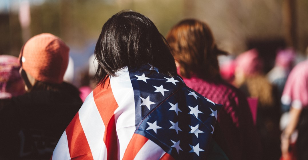 woman wearing a united states flag