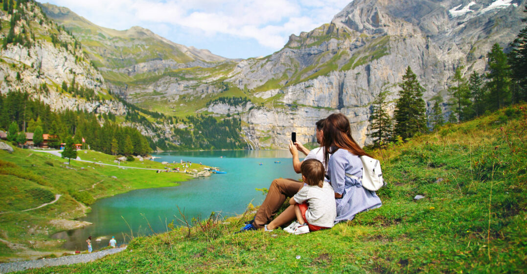 Cost of living Switzerland - family in mountain scenery